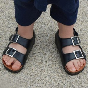 wholesale cowhide flat slip on summer boys girls beach unisex kids cork sandals shoes