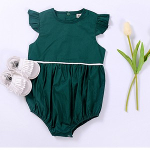 buy olive green summer flying sleeve linen cotton baby girl rompers clothes online