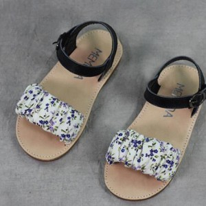online wholesale flower print simple flat summer leathert kids girl sandals shoes china