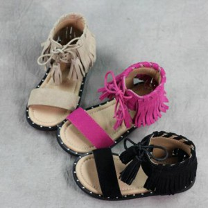 best summer brown leather tassel children sandals roman kids girl gladiator sandals