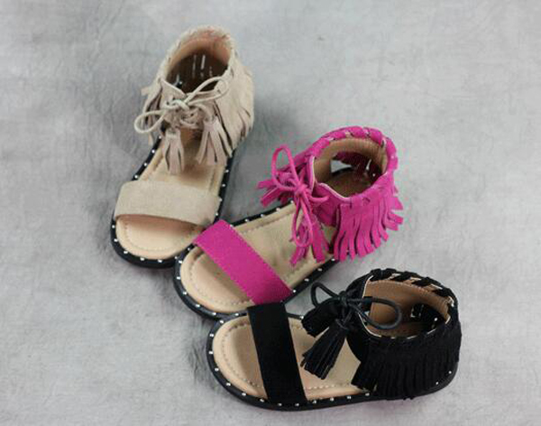 442ed77f907 best summer brown leather tassel children sandals roman kids girl gladiator  sandals