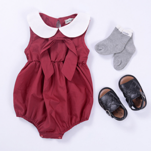 online sale cotton summer solid color neck baby jumpsuits girl toddler rompers suits