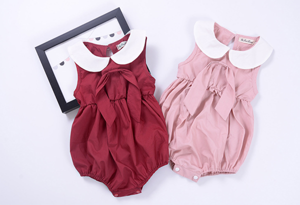 0ce1f1ac9 online sale cotton summer solid color neck baby jumpsuits girl ...