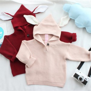 mix colors solid bunny ear girls boys baby sweaters kids hoodies wholesale