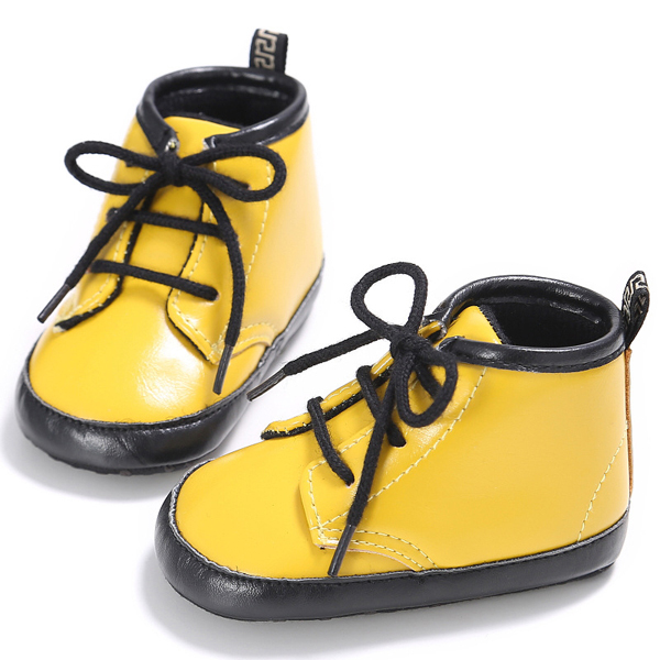 mix color patent pu leather fashion cute walker shoes infant leather high top baby sneakers toddler girl boys
