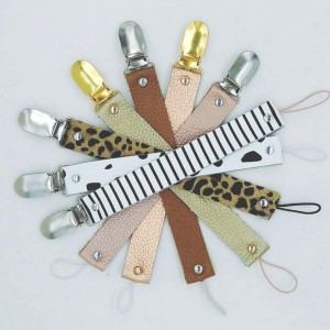 buy soft leather custom print infant newborn baby pacifier holers leather dummy clips