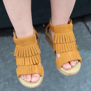 online shop brown suede tassel moccs kids girl gladiator sandals shoes for sale