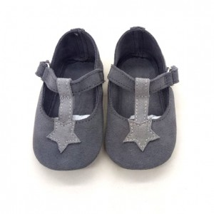wholesale gray star suede leather soft wide infant baby girl footwear shoes online