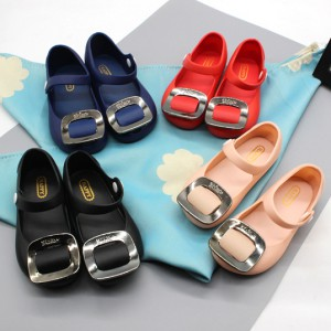 wholesale cheap clear plastic pvc girls sqare buckle kids jelly shoes sandals