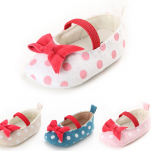 dot print bow girls elastic soft sole cheap toddler best first baby shoes online sale