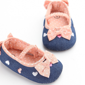 cute embroidery heart fancy girl designer walking newborn infant baby shoes slippers booties