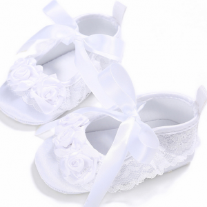 toddler newborn infant christening baptism ribbon rosette satin white baby shoes girl online