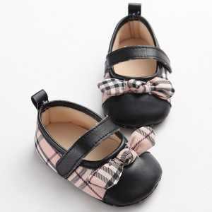 UK style checked pu leather bow girls cheap baby dress shoes best toddler walking mary jane