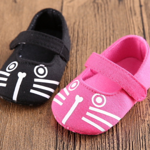 cat print cute fancy girl cheap black toddler walking first baby shoes wholesale