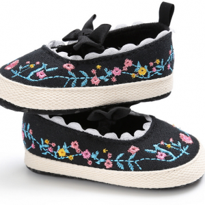 cotton fabric embroidery handmade soft flat infant walking girl newborn toddler mary jane shoes sale
