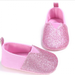 glitter fabric soft sole cheap flat infant slippers sneakers newborn girls shoes