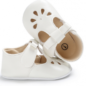 pu leather petal patterns cute girls newborn infant walking t bar dress shoes wholesale