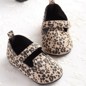 rubber sole falt leopard print cotton todder baby girl dress shoes wholesale