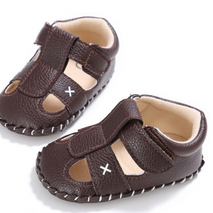 deep brown soft leather walking rubber sole infant toddler closed toe baby boy sandals