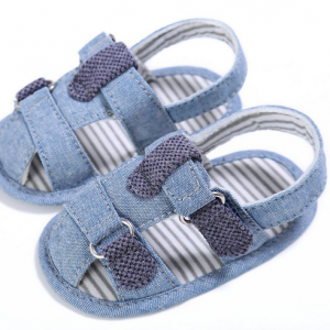 denim fabric soft sole summer cheap closed toe girls boys toddler baby gladiator sandals online