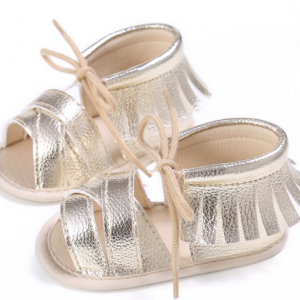 shinny pu leather gold baby moccasins sandals infant moccs shoes wholesale
