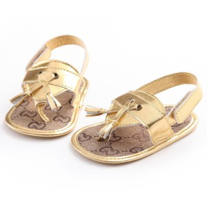 gold pu leather discount cheap summer boy girl infant baby flip flop sandals shoes