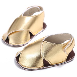 soft pu leather gold infant shoes summer girls boys handmade sandals wholesale