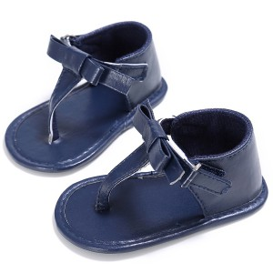 wholesale cheap pu leather bow girls flip flop sandals todder baby walking shoes