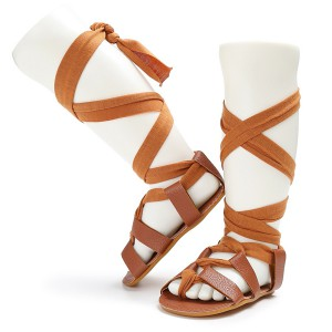 wholesale knee high rubber sole soft touch cheap summer kids toddler baby gladiator sandals