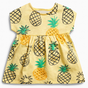 cute pineapple pattern summer short sleeve sundress infant baby girl peach dress outfit clothes