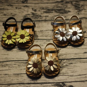 discount PU leather flower summer flat shoes kids girl leather sandals for toddlers children footwear