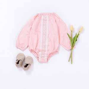 wholesale pink long sleeve summer cute baby girl onesies outfits rompers