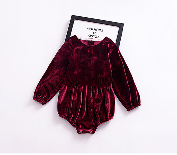 684088bad131 online soft vevet maroon cute cheap baby girl winter clothes rompers  onesies outfits
