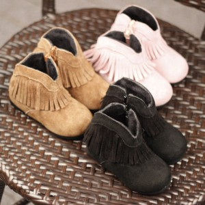32df5887e Baby Shoes. zipper closure short tassel winter soft leather ankle kids  moccasins cowgirl boots for girl booties