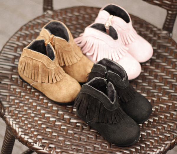 zipper closure short tassel winter soft leather ankle kids moccasins cowgirl boots for girl booties