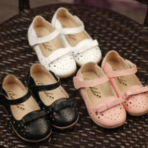 popular children footwear cute rubber sole formal flats bows little girls black dress shoes for kids