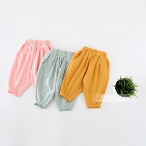 summer cotton girls boys ballon style newborn infant baby joggers pants kids trousers wholesale
