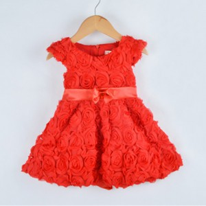 summer wedding rosette red lace girl dress hand made baby cotton frock design for 3 years old girl wear