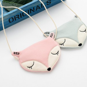 organic cotton cute handmade cheap kids girl boys pink baby blue fox pattern messenger bags for teens wholesale