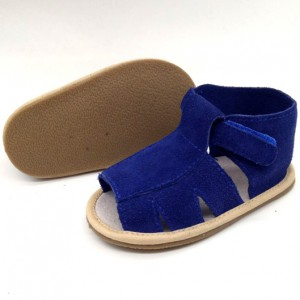 navy blue suede leather soft infant toddler baby sandals for boys girls online for sale